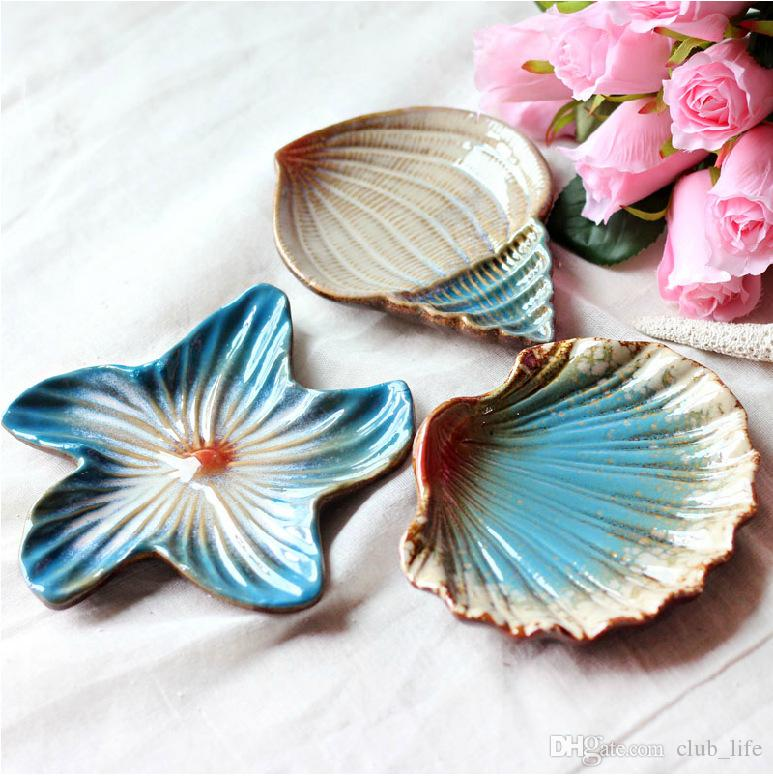 Shell Shaped Soap Dish Bathroom Holder Saver Tray Ceramic Case Container Kitchen Snack Food Seashell Plate Organizer DS5560