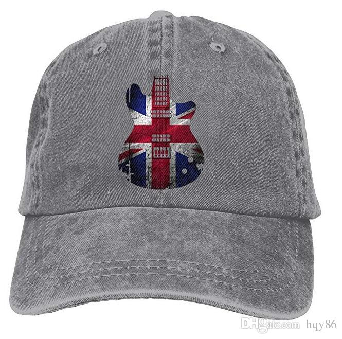 08d6cdb4fc483 Flag United Kingdom Guitar Adult Cowboy Hat Baseball Cap Adjustable Athletic  Make Custom Gifts Hat For Men And Women Richardson Caps Customized Hats  From ...