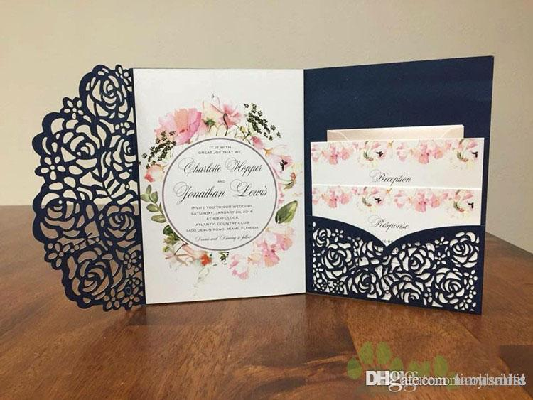 Affordable Laser Cut Wedding Invitations: 2018 Affordable Wedding Invites Laser Cut Pocket Wedding