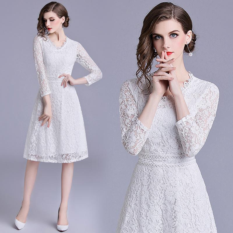 8b047e0a5d 2019 Autumn Dress 2018 New Design High Quality Lace Elegant Lady Midi Fashion  Dresses For Women Bridal Party Birthday Guest Wedding From Clothes zone