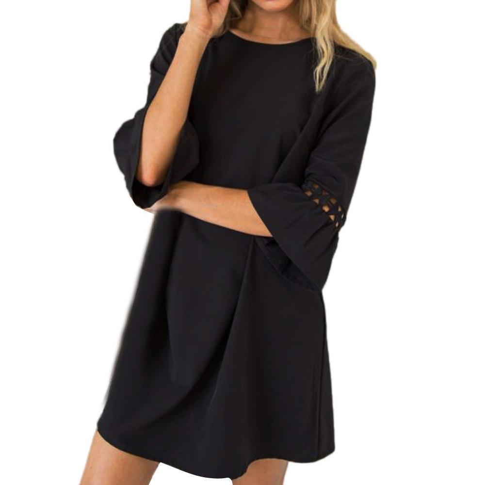 7362145472f Женские выдалбливают черное платье женская мода o шеи платье мини-платье  Flare рукавом свободные твердые платья Jurken  VE