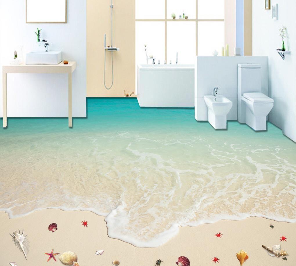 Großhandel Vinyl Bodenbelag Badezimmer Surf Strand Seestern 3D Boden ...