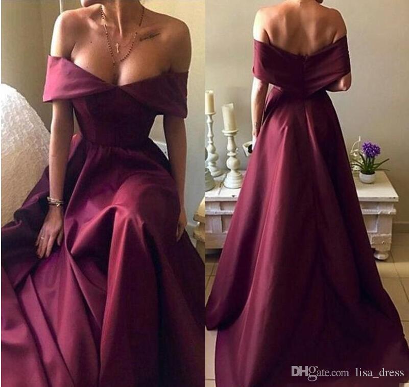 Hot Sell Burgundy Prom Dresses 2018 Elegant Off Shoulders A Line ...