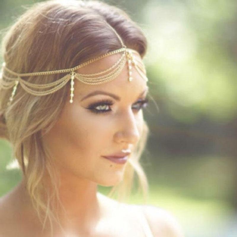 Online Cheap Boho Gold Draping Crystal Hair Cuff Arabian Bridal Hair ...