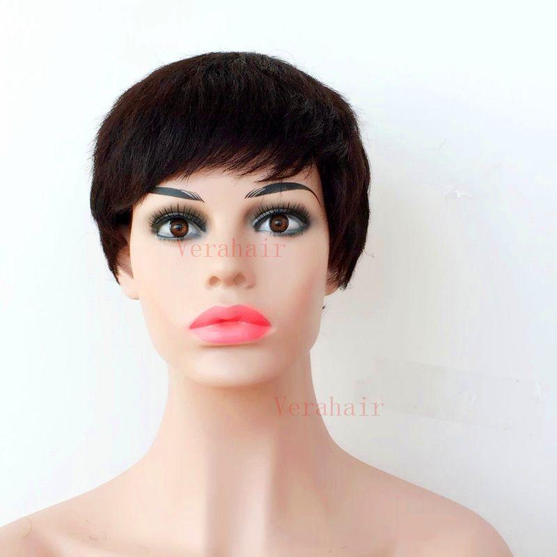 Bob Short Cuts humano peluca llena del cordón del pelo para las mujeres Negro de pelo corto con flequillo sin cola peluca barato Pixie Cut África pelucas de América
