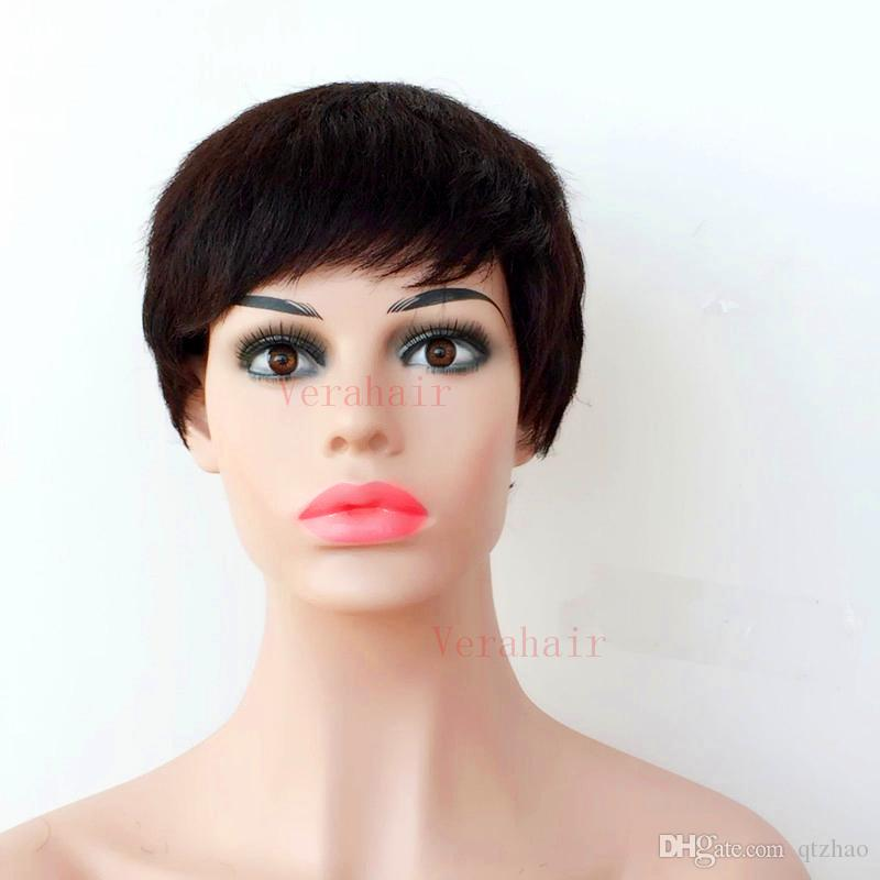 Corte curto Perucas de Cabelo Humano Cheia Do Laço Chique Macio Sentimento natural preto Brasileiro Cabelo Humano Rihanna Perucas para mulher negra