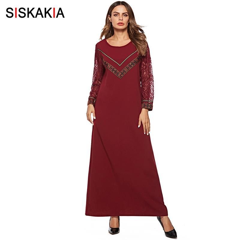 newest 125a5 78224 Abiti lunghi donna Siskakia Vintage Patchwork etnico in pizzo Maxi Abiti  Autunno manica lunga girocollo Dubai Arabi arabi vestiti musulmani