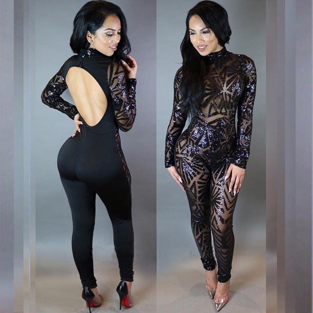 2019 Plus Size Jumpsuits For Women 2018 Black Sequin Jumpsuit