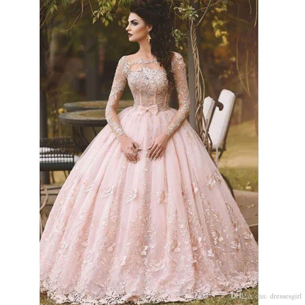 b5286bd6ed Hot Long Sleeve Quinceanera Dress Lace Appliqued Bow Sheer Neck 2018  Vintage Sweet 16 Girls Debutantes Ball Gown Prom Evening Gowns Prom Dresses  Prom ...
