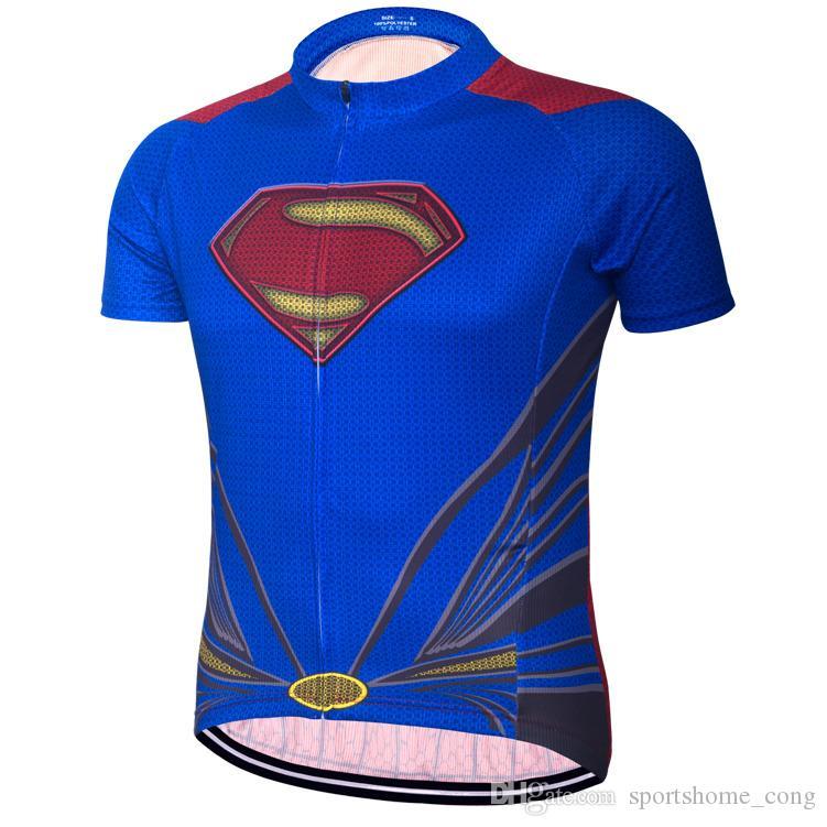 655f154db Breathable Superman Batman Cycling Jersey Short Sleeve Summer Men S Shirt  Bicycle Wear Racing Tops Bike Cycling Clothing Biker T Shirt Vintage Cycling  ...