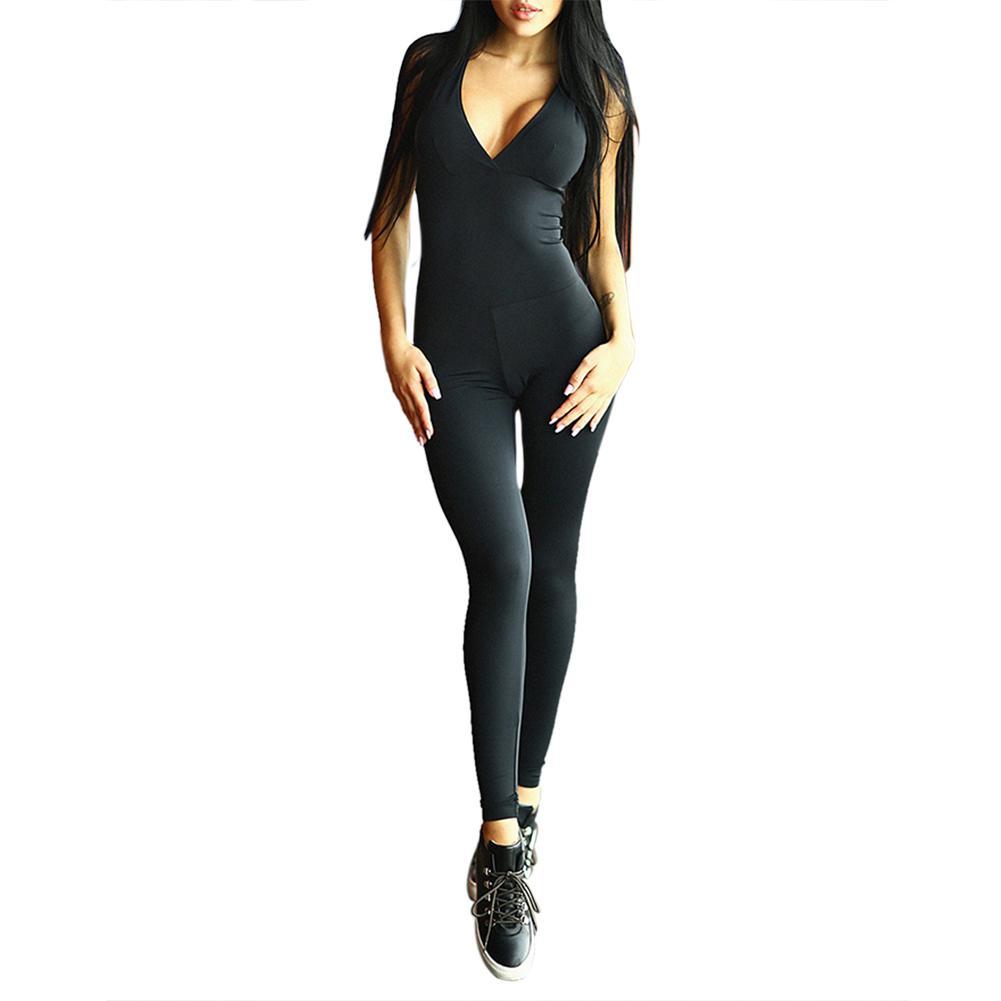 8053c9efcf634 Compre Pantalones De Yoga Mujer Ropa Deportiva Sexy Negro Sólido Delgado  Sin Espalda Sin Espalda Cuello En V Cruzado Vendaje Traje Jumpsuit Yoga  Body Gym ...