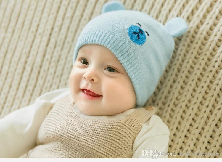 New style Autumn Winter Knitted Cap For Baby Children Hat Little Bear Ear Beanie Baby Wool Caps