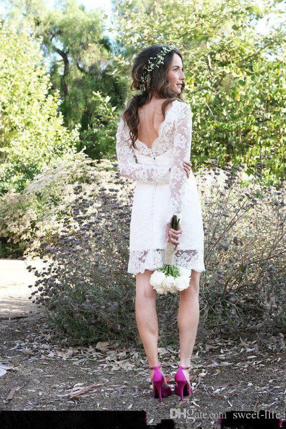 2018 Cheap Sale Short Wedding Dresses Long Sleeve Jewel Neck Sheath Mini Simple Design Bridal Gowns for Garden Wedding Custom Made
