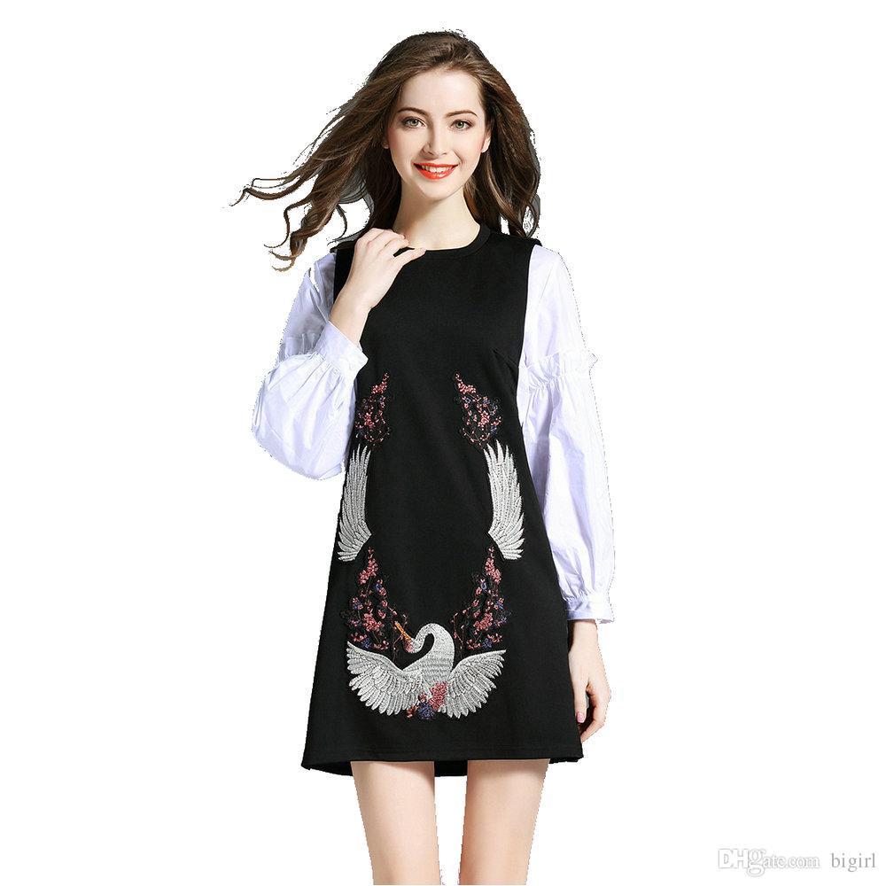 a4a32f90c80774 Fashion Women Dress White Shirt + Crane Embroidery Vest Dress Fashion Suit  Vintage Mini Spring Summer Dress Casual Modern Style