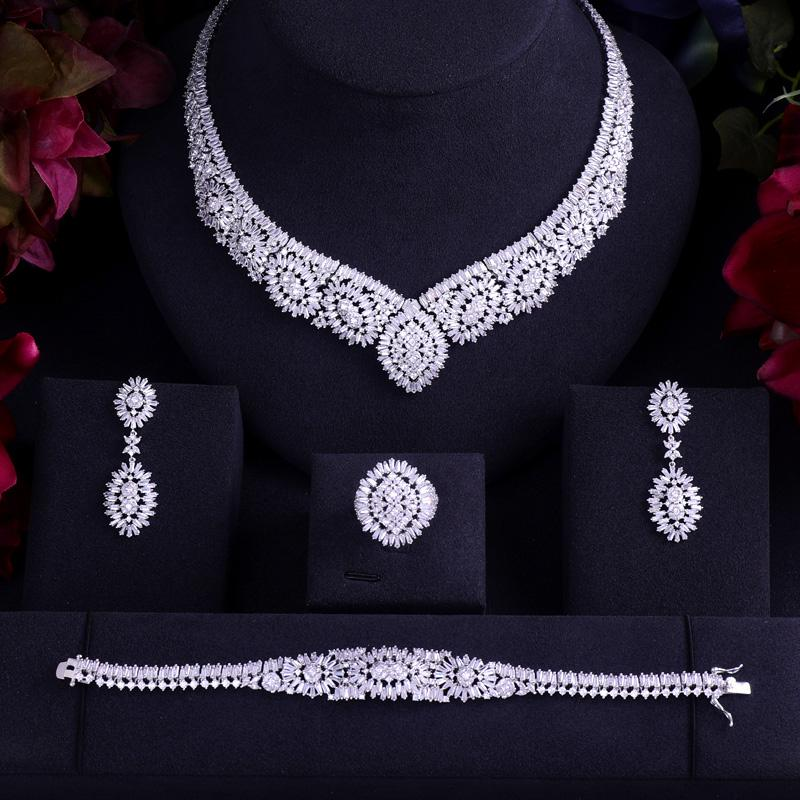 Brautschmuck Sets Emmaya Weiß Gold Farbe Luxus Braut Cz Kristall Halskette Und Ohrring-sets Große Hochzeit Schmuck-sets Für Bräute