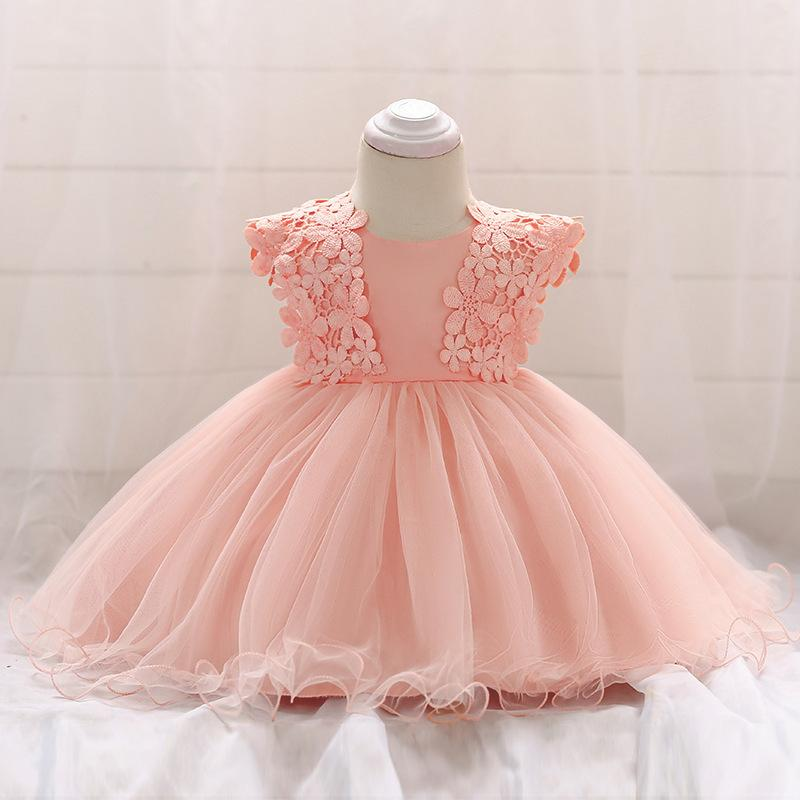 d7a6b6e7ca Baby Dress Toddler Girl Princess Wedding Dress First Birthday Newborn Party  Dresses Lace Baby Christening Infant Clothes