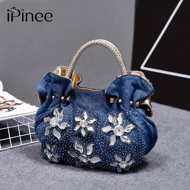 c14637e830fd IPinee 2018 Woman Denim Handbags Bags Vintage Luxury Rhinestone Shoulder  Bags Women S Small Bags Jean Bolsas Femininas For Women Y18102604 Discount  Handbags ...