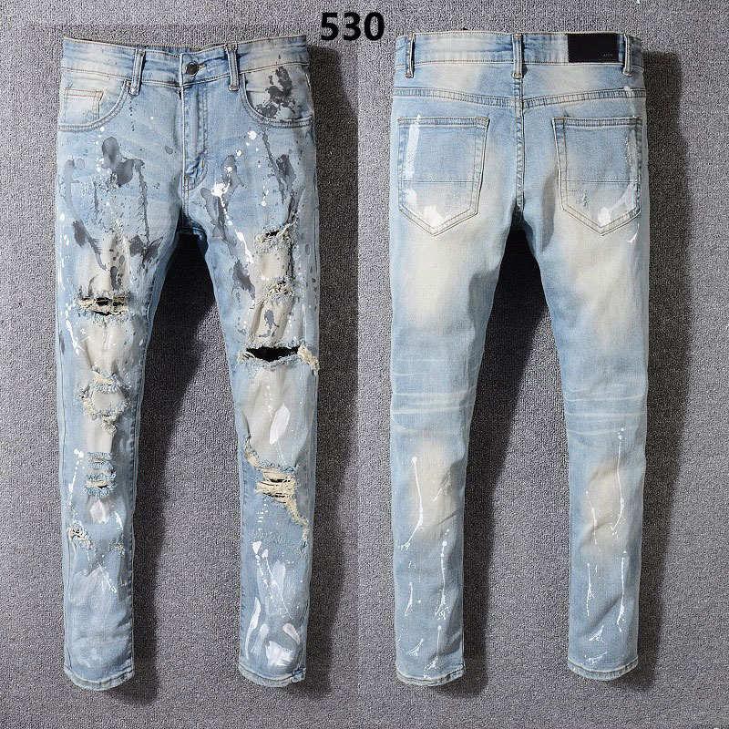 2019 hombres de moda los pantalones vaqueros motorista estilo de diseño de la marca famosa jeans rotos los hombres de calidad superior más el tamaño de la venta caliente