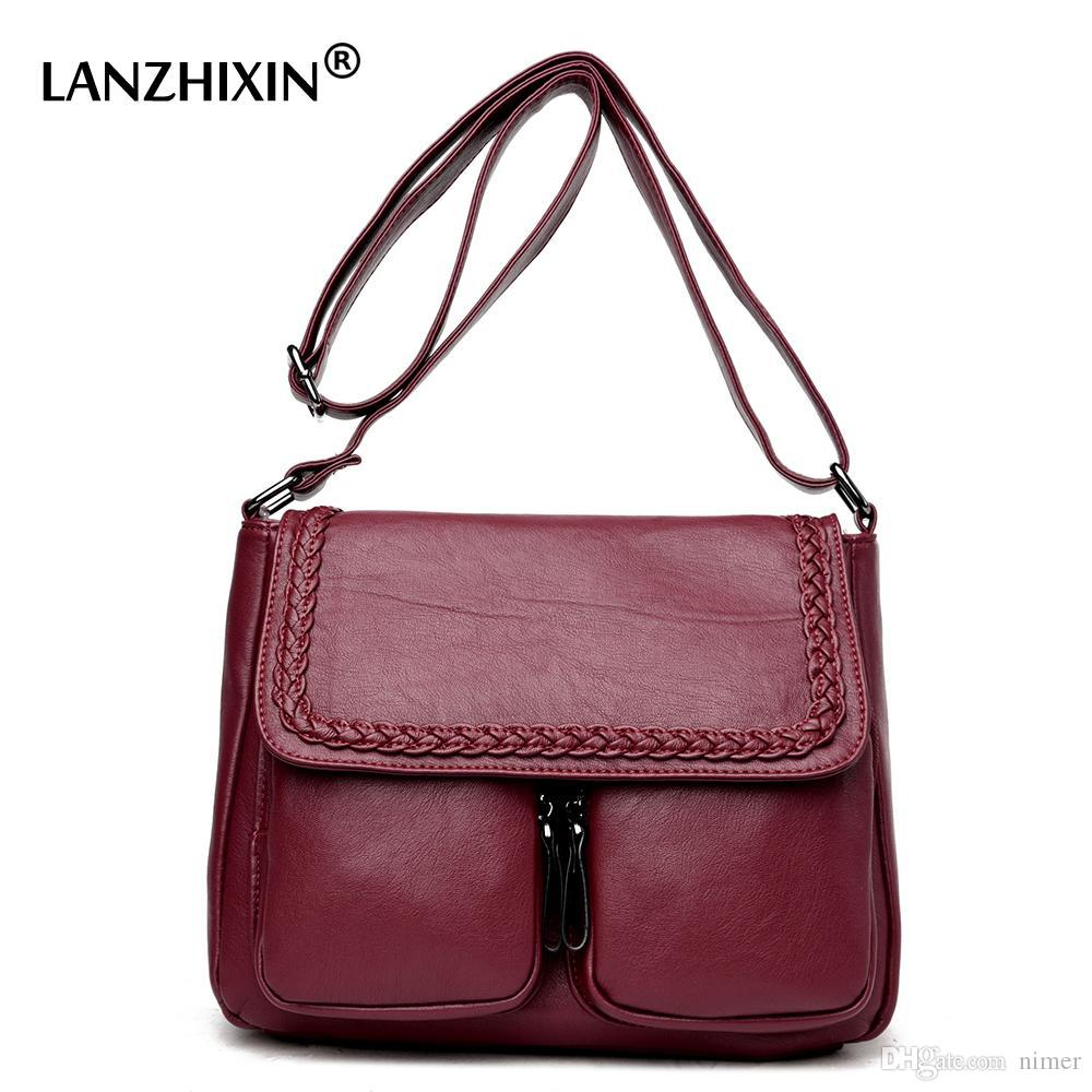 5c912721f008 Lanzhixin Women Simple Fashion Leather Tote Bags Vintage Women Messenger  Bags Crossbody Middle Aged Mother Retro 1036 Leather Bags For Women Clutch  Purses ...