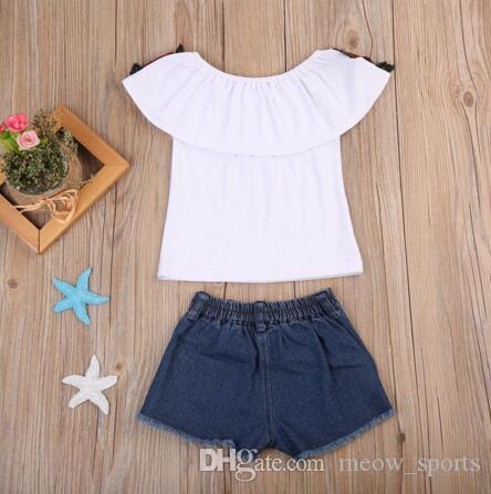 Hot Sale! 2018 Summer Baby Kids Girls Clothes 3D Flower print sleeveless Ruffle round neck pullover T-Shirts Denim Hole Pants cotton Set