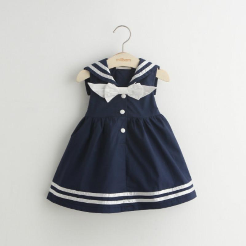 Navy Style Girls Dresses 2017 New Summer Sleveless Children Sailor Dresses for Girls White and Blue Kids Dresses