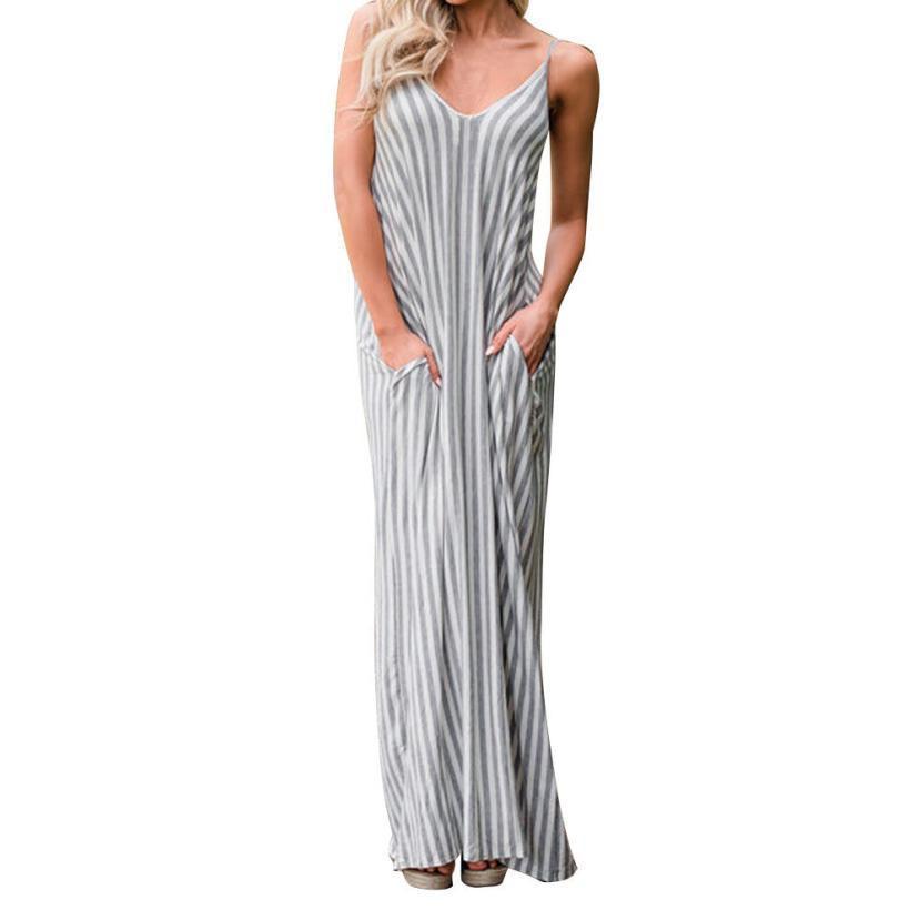 560e2e2388cb Fashion Women Summer Loose Dress Striped Bohemian Style Evening Party  Sundress Oversized Strappy Long Maxi Dresses Vestiti Donna Cocktail Dresses  Long Buy ...