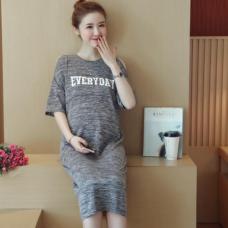 39262632f40b0 Satın Al Yaz Kore Moda Analık Uzun Elbiseler Mektup Baskılı Kapalı Hamile Kadınlar  Gebelik Için Omuz Giysileri Giyim, $15.58 | DHgate.Com'da