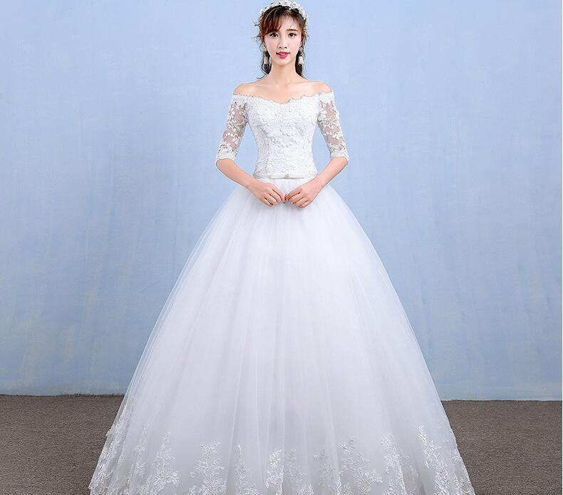 Sıcak Satış Gelinlik 2018 Yeni Varış Aplikler Nakış Dantel Yarım Kollu Seksi Tekne Boyun Prenses Elbisesi vestido de noiva