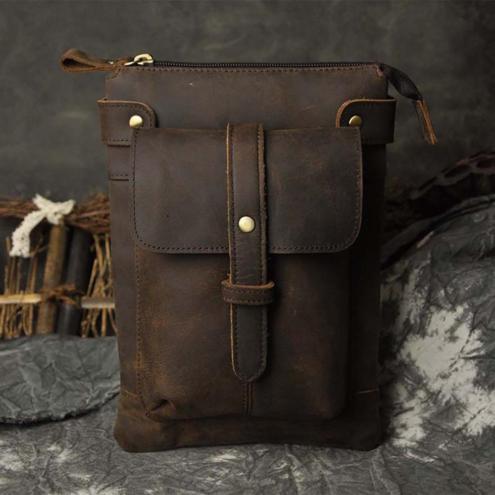 Crazy Horse/Oil Wax Genuine Leather Men Waist Bag Male Hip Belt Purse Pouch Cross Body Designer Vintage Shoulder Messenger Bags