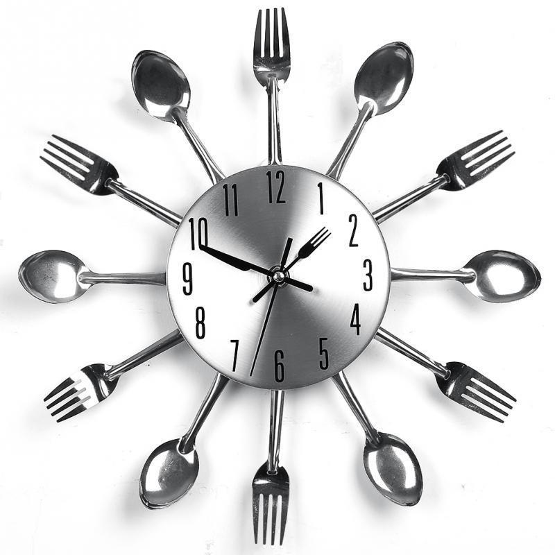 Acquista Design Moderno Orologi Da Parete Nastro Posate Da Cucina ...