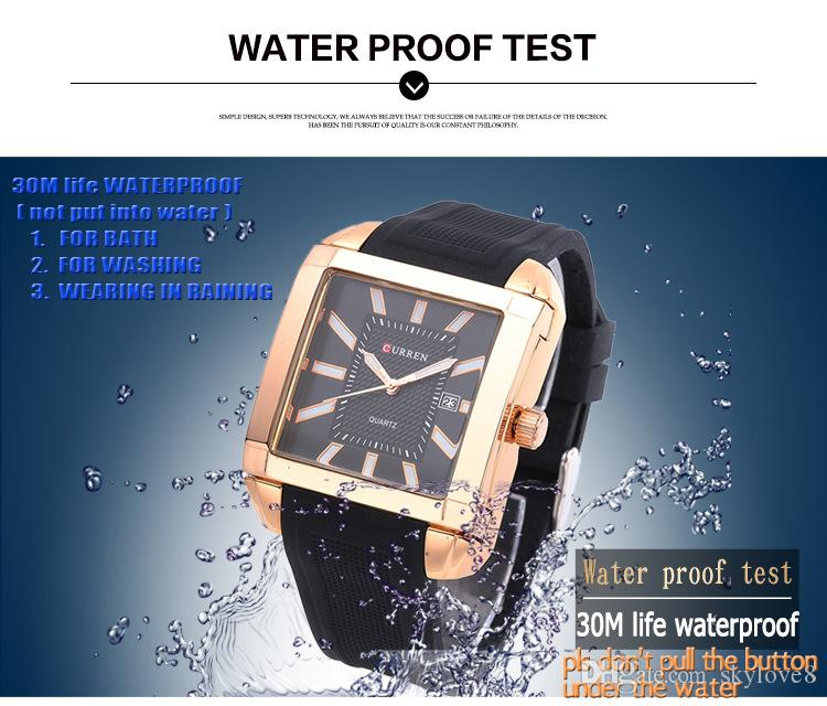 NEW Model CURREN8145 Mens Watches Brand Luxury Clock Male Silicone Strap Big Dial Military Waterproof Wristwatch Gold Quartz Square Watch
