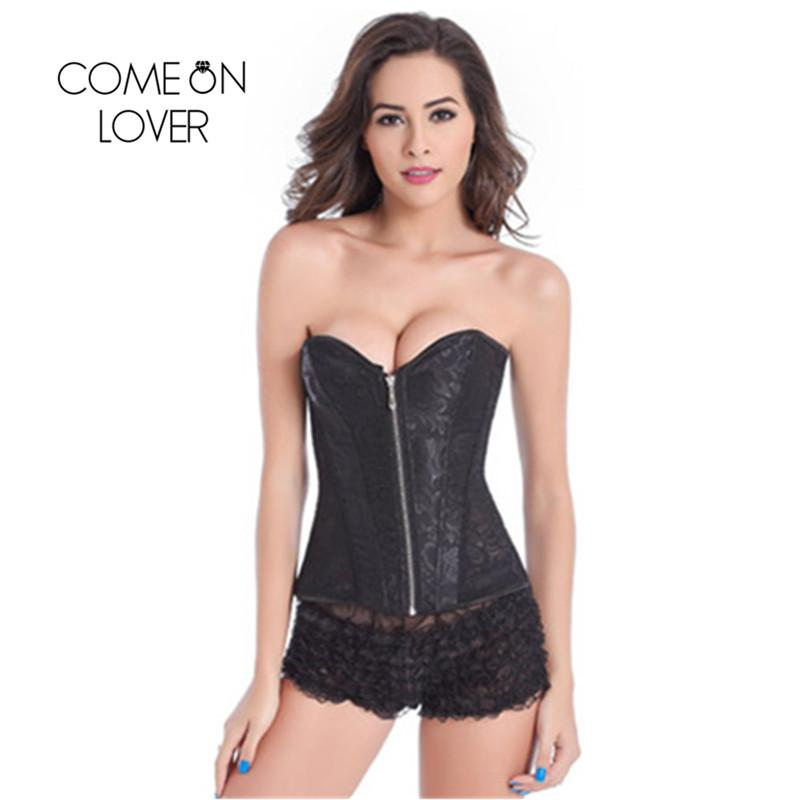 bb2bcca66 2019 Comeonlover Women Zipper Bustier Top Corset Sexy Boned Waist Trainer  Corset Overbust Brocade Plus Size Women AI2222 From Rykeri