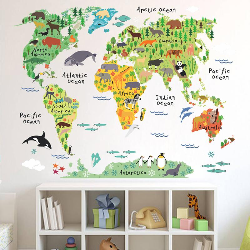 Wholesale World Map Animals Wall Stickers Kids Room Decorations