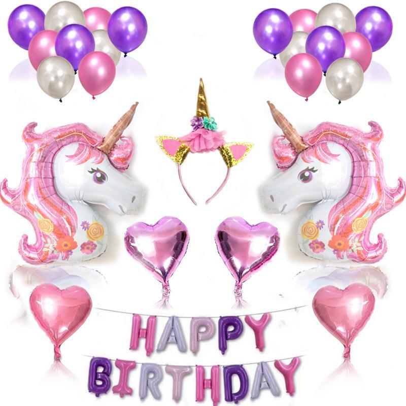 Licorne Ballon Rose Violet Latex Feuille étoiles Joyeux Anniversaire Ballons Décorations De Fête Coeur Gonflable Licorne Lettre Ballons