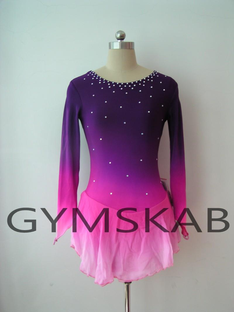 3054a161d0 2018 Elegant Figure Skating Dress Women's Girl's Customized Ice Skating  Dress Long-sleeved Gymnastics Costume 5093