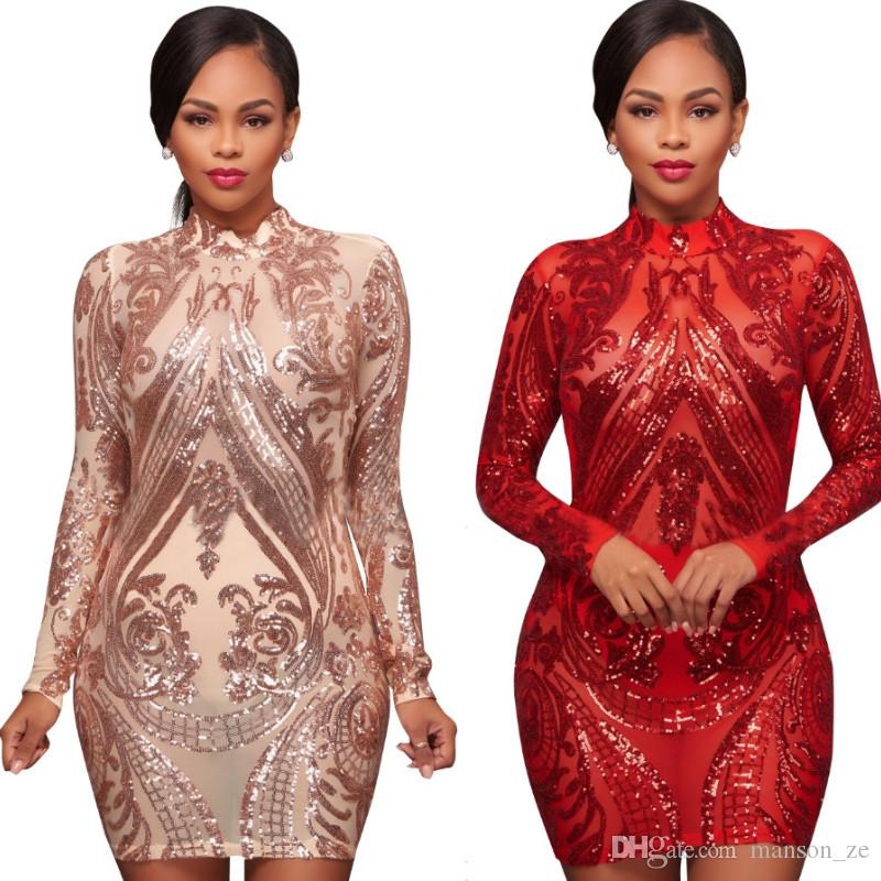 6a57e12bf26 2018 Sexy High Neck Long Sleeve Sequin Elegant Party Dress Gold Autumn Sexy Bodycon  Dress Party Dresses Christmas Gift Vestido De Festa XXL Long Striped ...