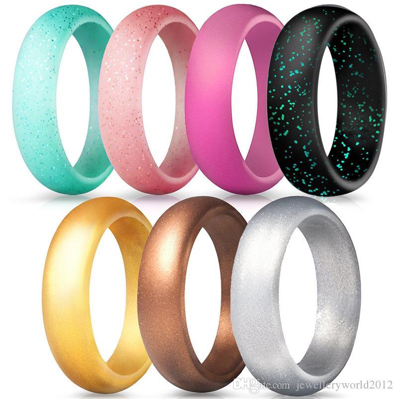 5.7 ملليمتر العرض جديد وصول سيليكون الدائري المرأة حلقة مشرقة مسحوق الأزياء خاتم الزواج 1 مجموعة = 7 قطع مزيج حجم 4-10 #