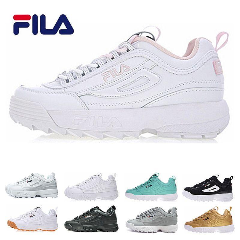 318080b127 Compre FILA Disruptor 2 II Disruptores Clássicos II 2 Prata Triplo Branco  Preto Cinza Ouro Running Shoes Mulheres Mens Seção Especial Sports Sneaker  ...