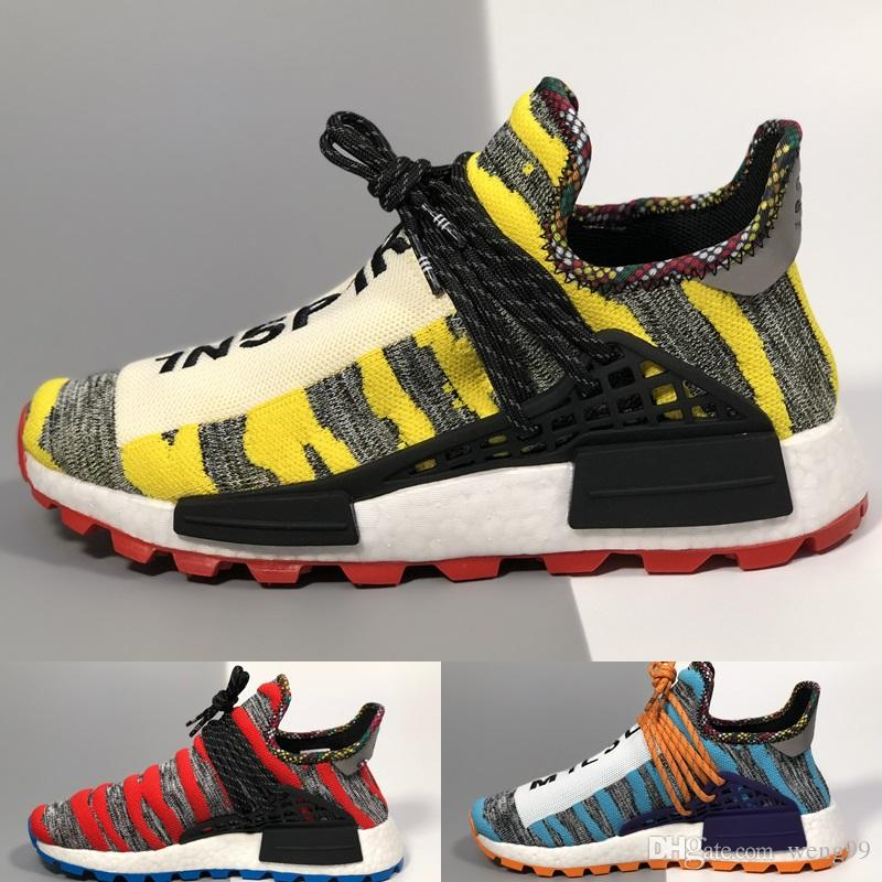 d5d89d966 2018 Creme X NERD Solar PacK Human Race Running Shoes Pharrell Williams Hu  Trail Cream Core Black Equality Trainers Sports Sneaker Girls Running Shoes  Hoka ...