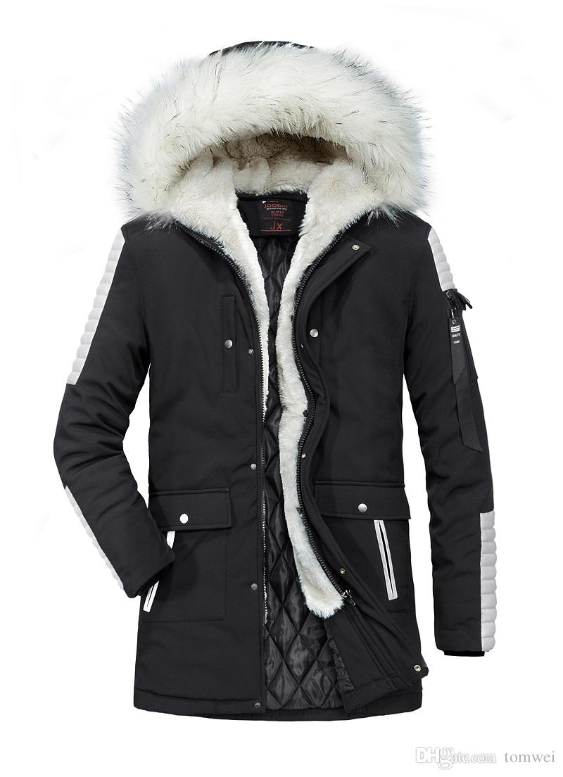 Long Down Cotton Jacket Men s Winter Coats Fur Hooded Down Parkas ... 104a62b0a
