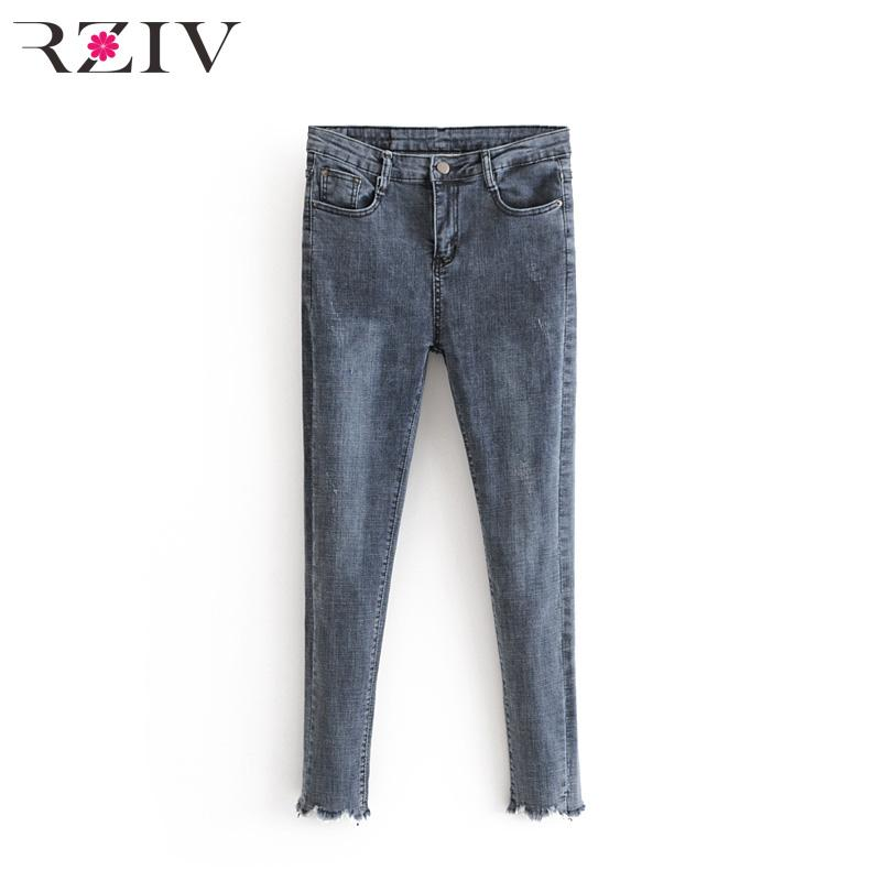 619ff2c4ce6 RZIV 2018 Autumn Female Casual Solid Color Jeans Stretch Jeans Burr ...
