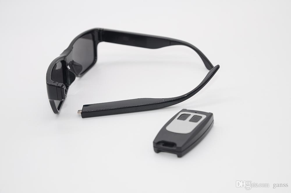GANSS Video Eyewear Telecomando Mini fotocamera Occhiali da sole 1080P HD No Hole Cam Camcorder DV DVR Recorder Scheda di memoria integrata 16 GB