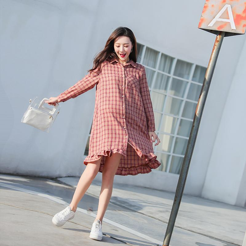 918ed1f043f 2019 Plaid Cotton Maternity Long Blouse Spring Autumn Korean Fashion Dress  Clothes For Pregnant Women Cute Loose Pregnancy Shirts Tops From  Mingway245