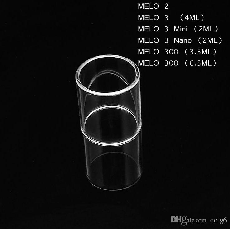 Sıcak Satmak Fit Eleaf MELO 2 3 300 Mini Nano 2 ML 4 ML 3.5 ML 6.5 ML Pyrex Cam Tüp Değiştirme Çan kap Temizle