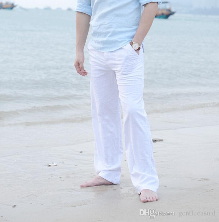 Compre Pantalones De Lino Para Hombres Verano Playa Solida Pantalones Largos Casuales Pantalones De Ocio Holgados De Gran Tamano A 33 13 Del Gentlecasual Dhgate Com