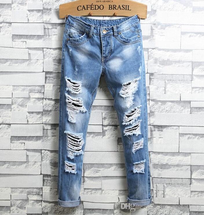 369f9353e8f Summer New Designer Slim Fit Ripped Hole Jeans Pants Mens Distressed ...