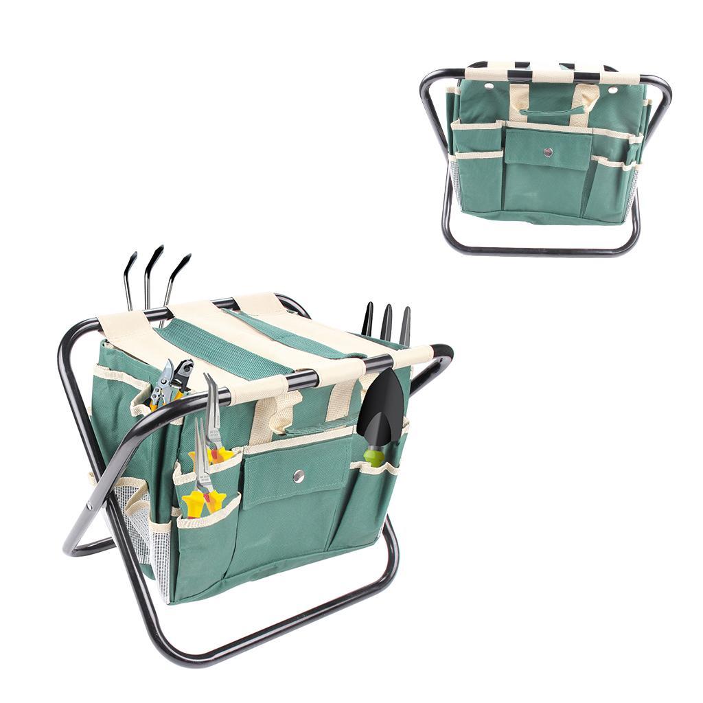 Conjunto de ferramentas de jardim com dobrável fezes de aço e lona destacável ferramenta sacola All-in-One Tool Bag com vários bolsos verdes