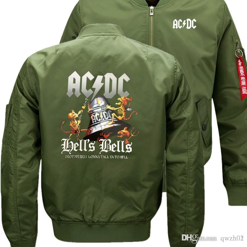 679394b0aff5 AC DC Rock Band Bomber Flight Flying Jacket Winter Thicken Warm ...
