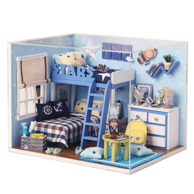DIY Doll House Furniture Assemble Kits Toys 3D Wooden Miniaturas Dollhouse Toys for Grownups Children Birthday Gifts Star Trek
