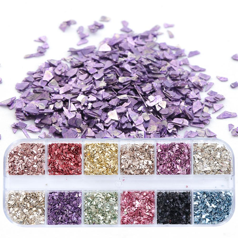 1 Set Broken Glass Shape Nail Sequins Flakes Tips Mix Color Paillette Manicure 3D Polish Nail Art Decoration Accessories SALY 1 Set